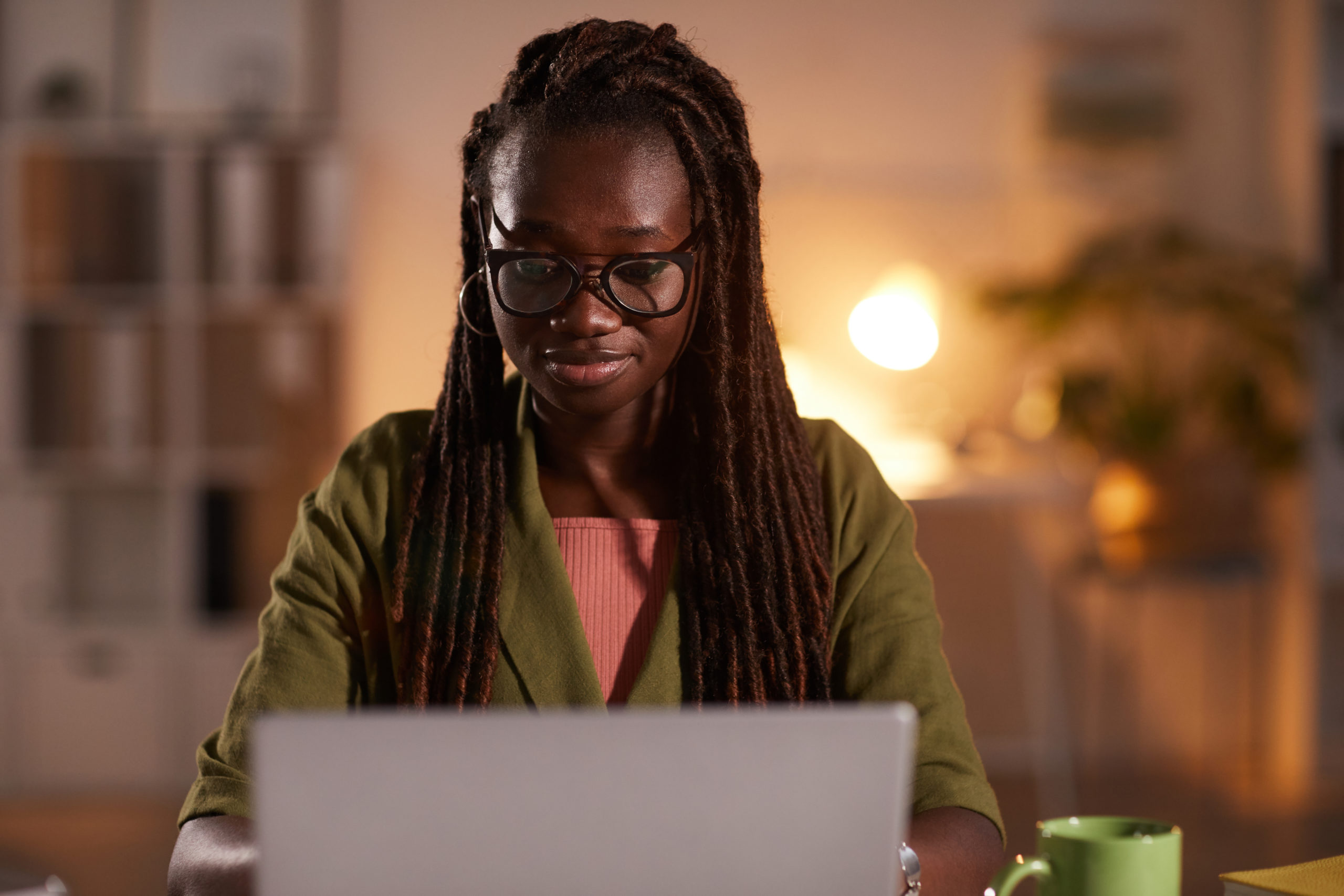 Smiling African-American Woman Working from Home